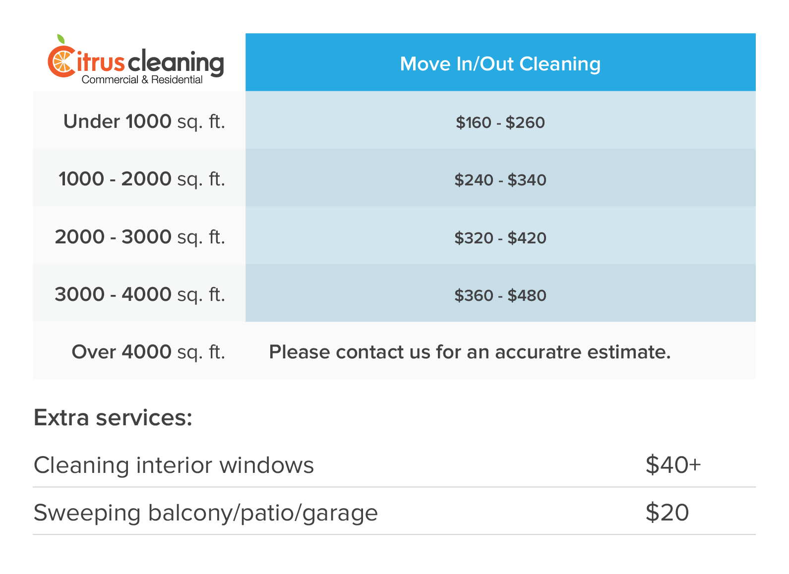 Prices Move-in-out Cleaning